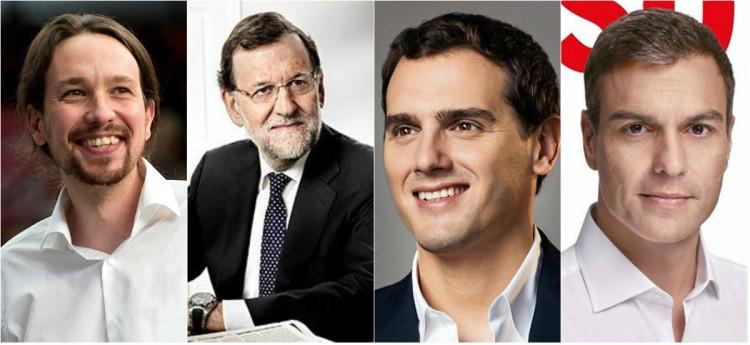 Pablo Iglesias, Mariano Rajoy, Albert Rivera y Pedro Sánchez