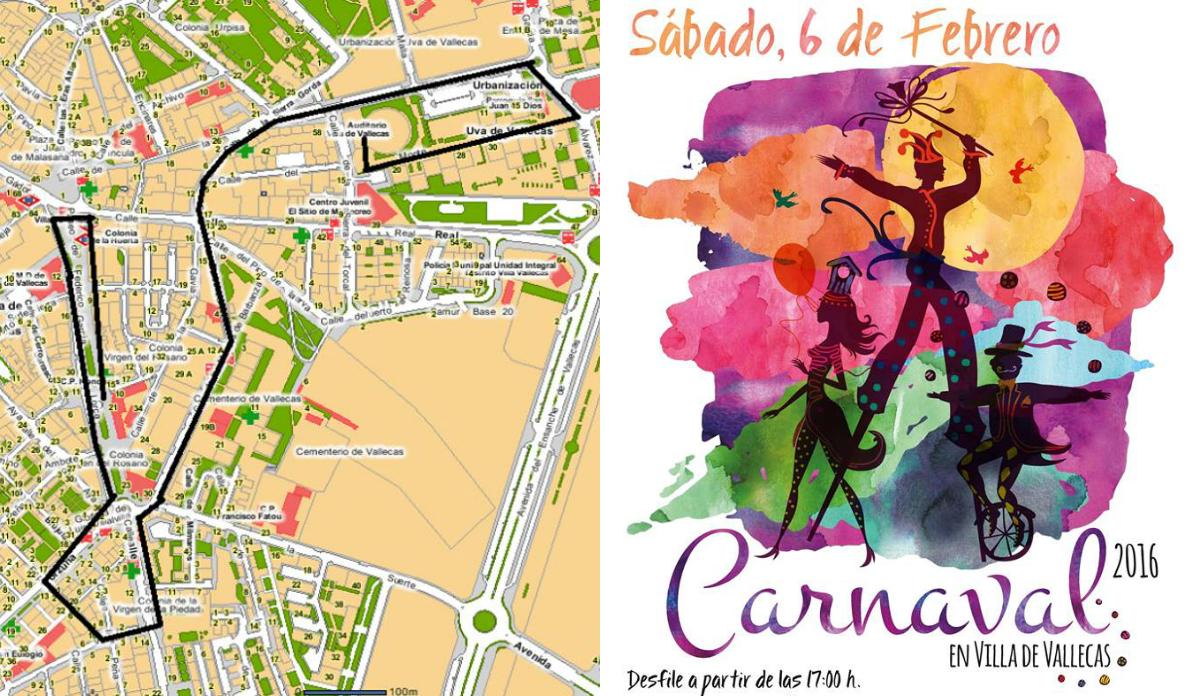 Recorrido y cartel del Carnaval de Villa de Vallecas (Foto: JM Villa de Vallecas)