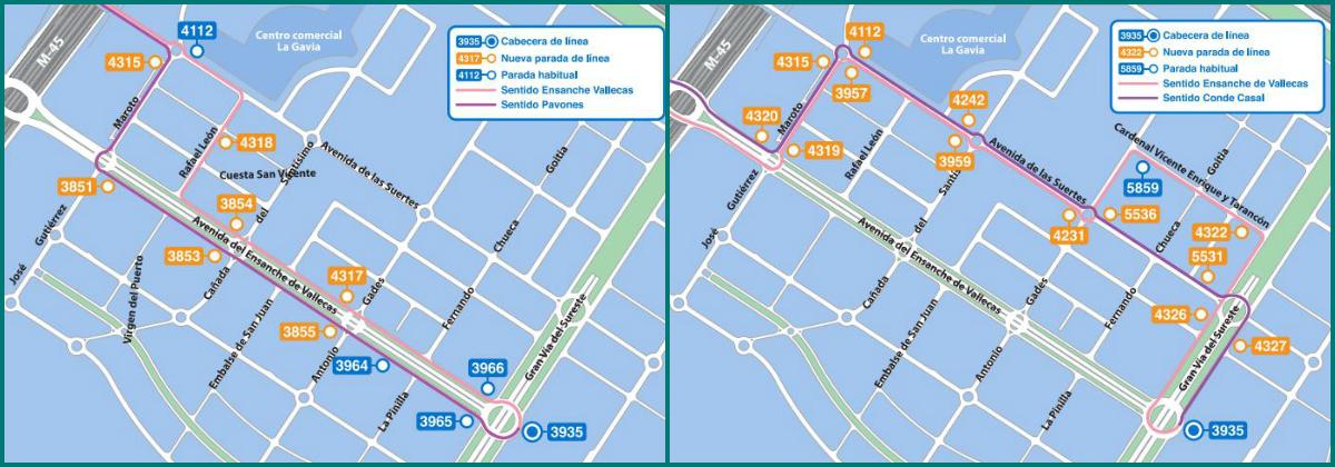 Cambios en los itinerarios de las líneas 142 y 145 (EMT)