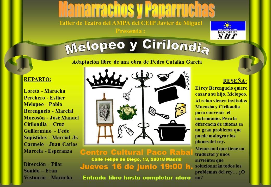 Cartel de la obra 'Melopeo y Cirilondia'