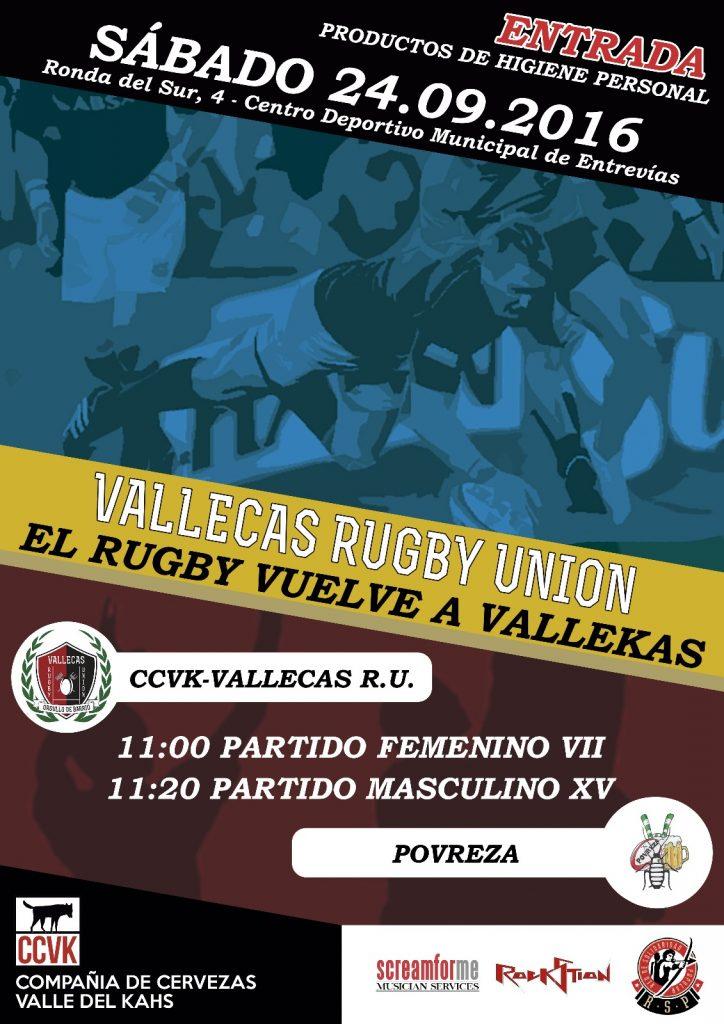 Cartel del encuentro del CCVK-Vallecas Rugby Unión