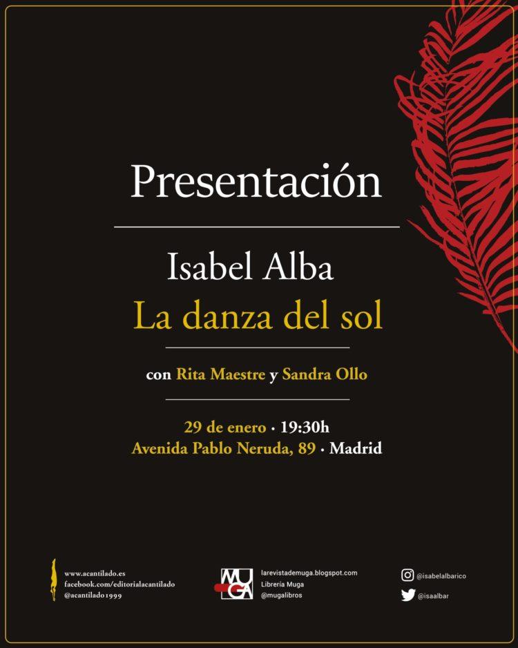 Cartel de la presentación de 'La danza del sol' en la librería Muga