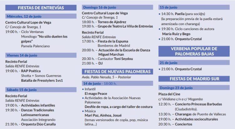 Programa de las fiestas en los barrios (Ayto. de Madrid)