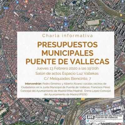 Charla sobre los presupuestos en Puente de Vallecas